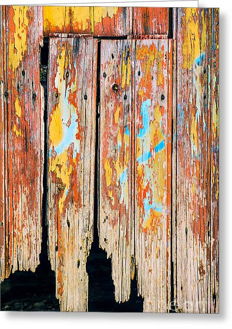 Wooden Shed Greeting Cards - Peeling Door Greeting Card by Carlos Caetano