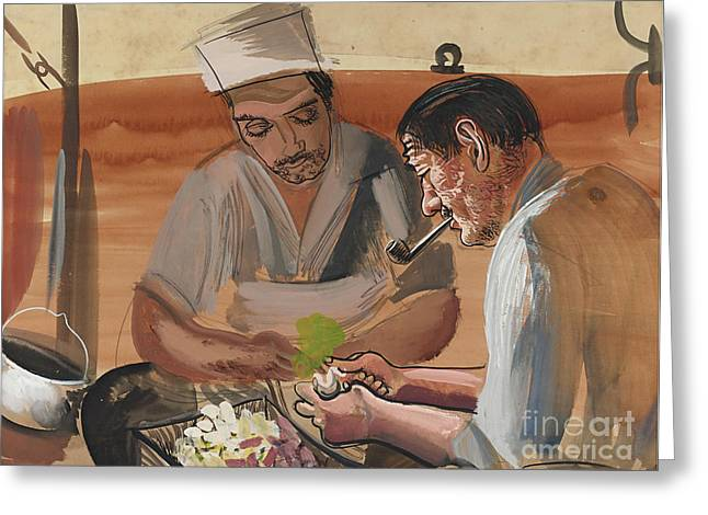 Strength Paintings Greeting Cards - Peeling Potatoes Greeting Card by Celestial Images