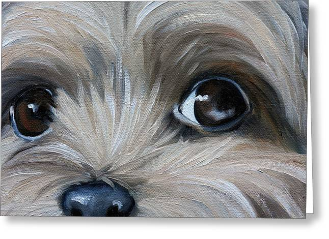 Recently Sold -  - Puppies Paintings Greeting Cards - Peeper Greeting Card by Mary Sparrow