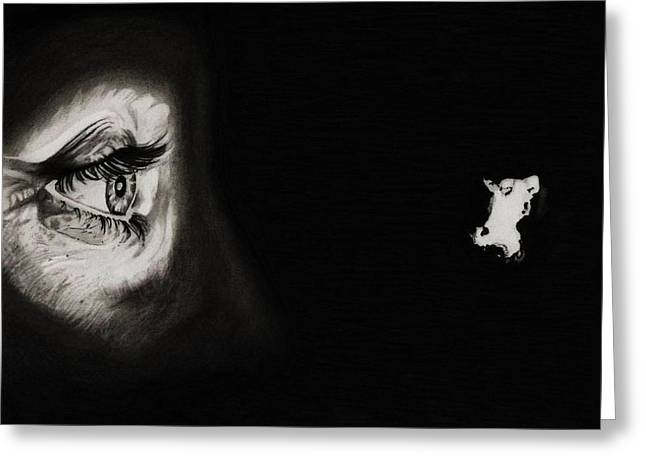 Killer Drawings Greeting Cards - Peeping Tom - Psycho Greeting Card by Fred Larucci