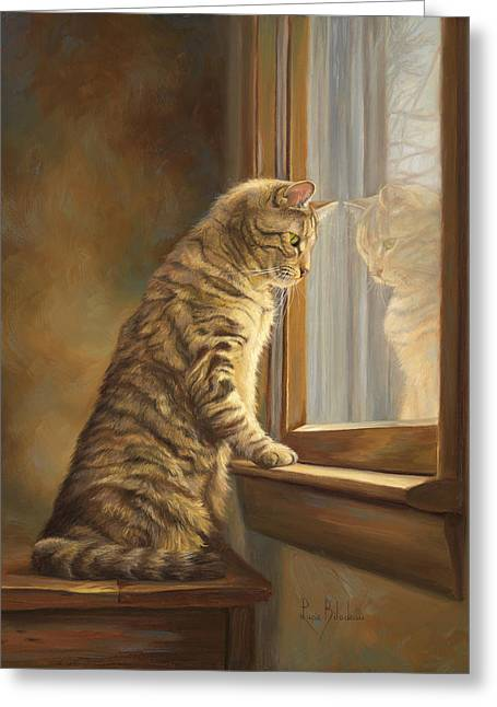 Domestic Shorthair Greeting Cards - Peering Out The Window Greeting Card by Lucie Bilodeau