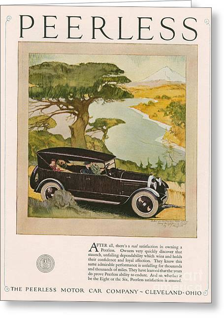 American Automobiles Greeting Cards - Peerless 1924 1920s Usa Cc Cars Driving Greeting Card by The Advertising Archives
