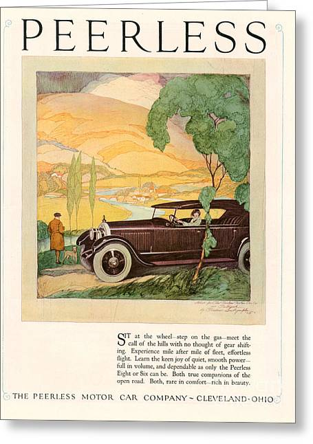 American Automobiles Greeting Cards - Peerless 1924 1920s Usa Cc Cars Greeting Card by The Advertising Archives