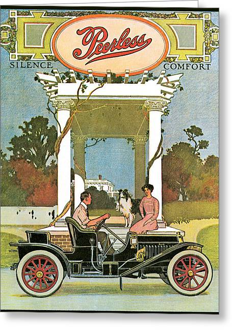Collie Greeting Cards - Peerless Greeting Card by Vintage Automobile Ads and Posters