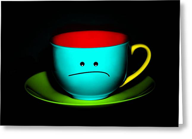 Fed Greeting Cards - Peeved Colorful Cup and Saucer Greeting Card by Natalie Kinnear
