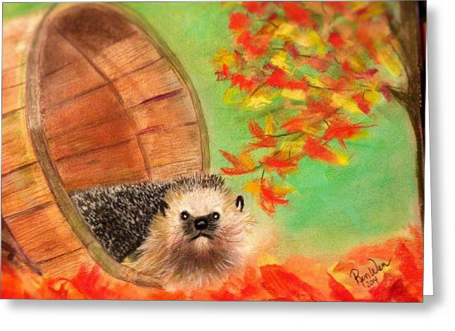 Barrel Pastels Greeting Cards - Peevish Porcupine Greeting Card by Renee Michelle Wenker