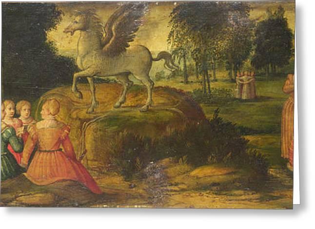 Pegasus Paintings Greeting Cards - Pegasus and the Muses Greeting Card by Girolamo Romanino