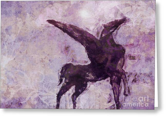 Abstract Digital Mixed Media Greeting Cards - Pegasus Antique Greeting Card by Lutz Baar