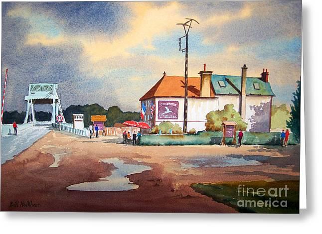Pegasus Paintings Greeting Cards - Pegasus Bridge and Cafe Gondree Greeting Card by Bill Holkham