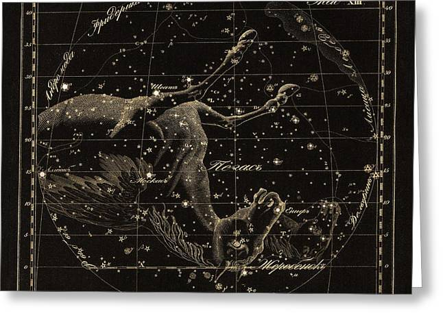 Punched Holes Greeting Cards - Pegasus constellations, 1829 Greeting Card by Science Photo Library