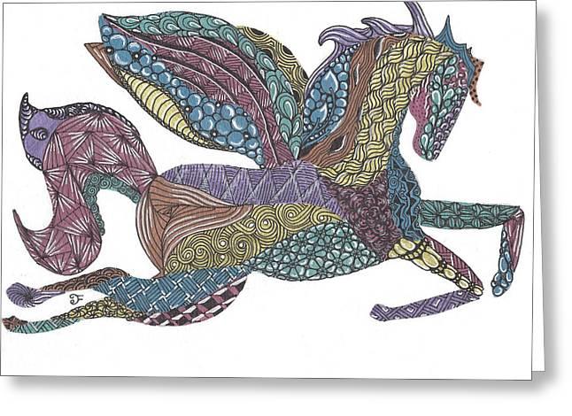 Flying Animal Drawings Greeting Cards - Pegasus Greeting Card by Dianne Ferrer