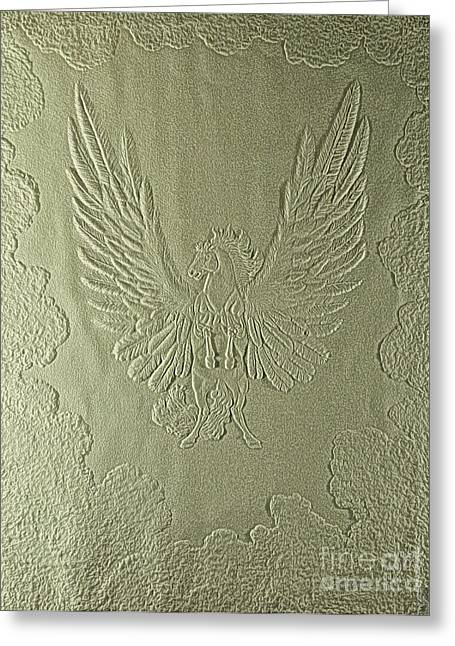 Winged Reliefs Greeting Cards - Pegasus Embossing Cont L Greeting Card by Dale Crum