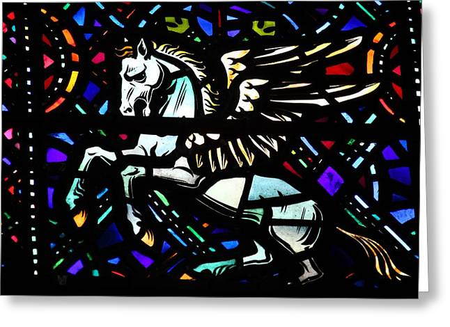 Architecture Glass Art Greeting Cards - Pegasus Greeting Card by FL collection