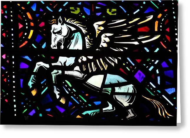 Horse Glass Greeting Cards - Pegasus Greeting Card by FL collection