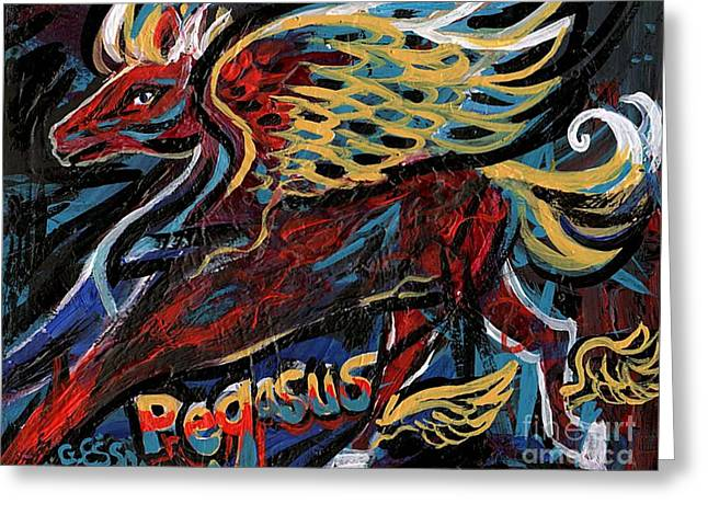 Stretching Wings Greeting Cards - Pegasus Greeting Card by Genevieve Esson