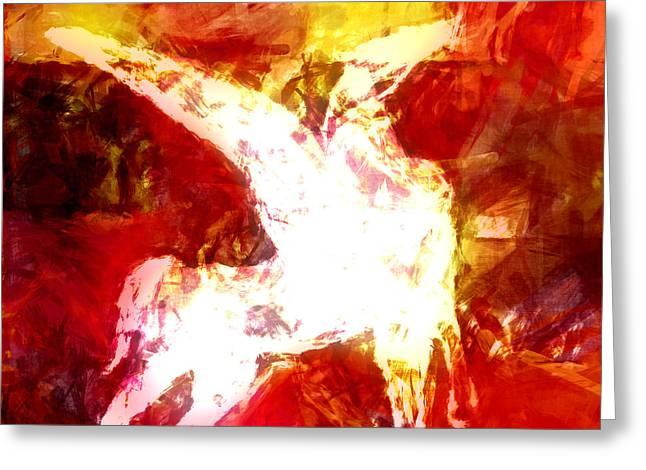 Abstract Digital Mixed Media Greeting Cards - Pegasus Glow Greeting Card by Lutz Baar