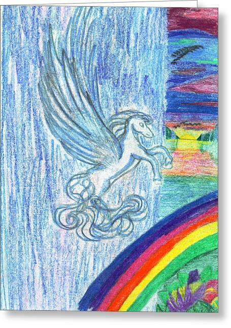 Fantasy Creatures Greeting Cards - Follow the Rainbow Greeting Card by Kd Neeley