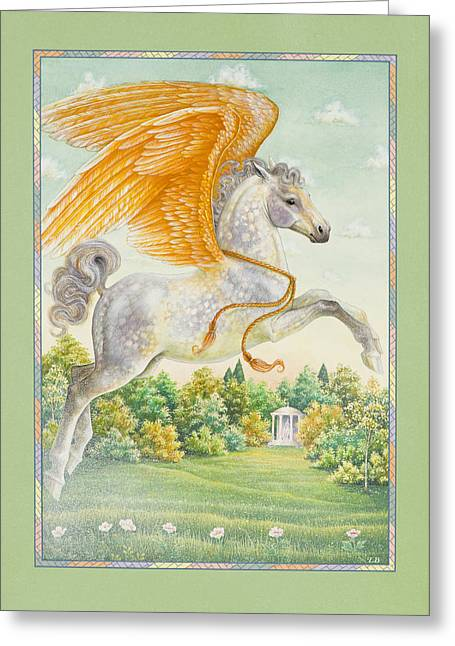 Pegasus Paintings Greeting Cards - Pegasus Greeting Card by Lynn Bywaters