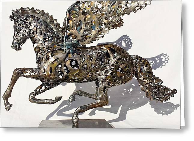 Weld Sculptures Greeting Cards - Pegasus Greeting Card by Pierre Riche