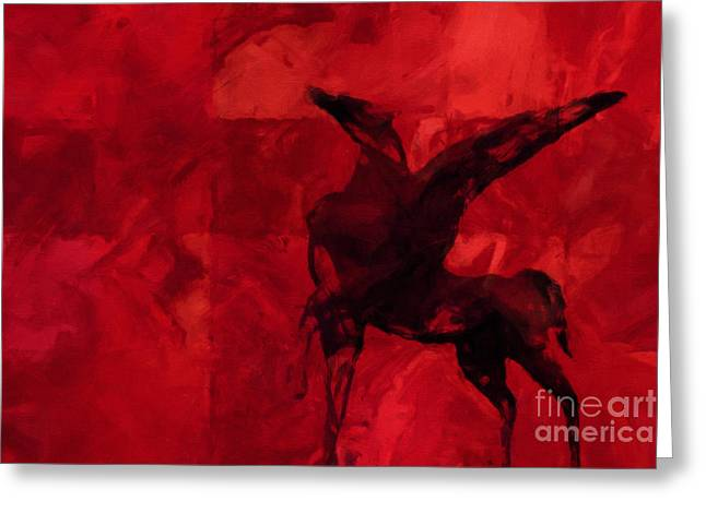 Abstract Digital Mixed Media Greeting Cards - Pegasus Red Greeting Card by Lutz Baar