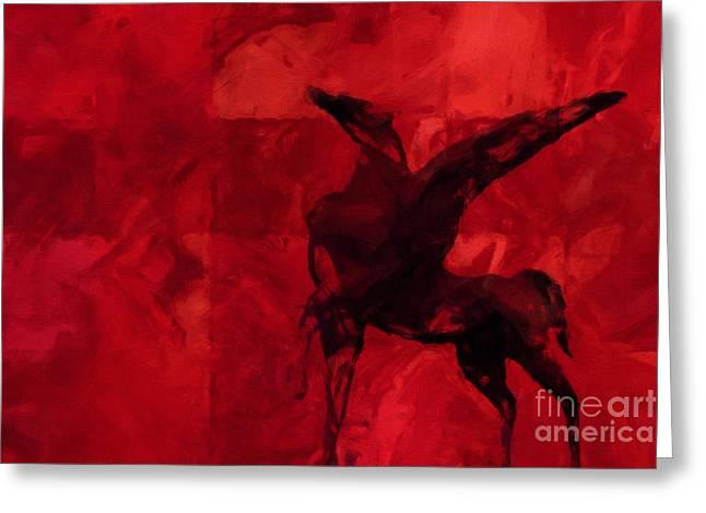 Pegasus Red Greeting Card by Lutz Baar