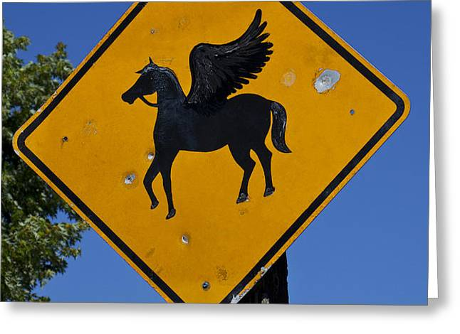Pegasus road sign Greeting Card by Garry Gay