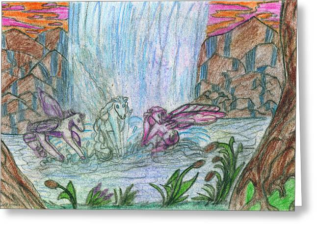 Fantasy World Drawings Greeting Cards - Falling Baths Greeting Card by Kd Neeley