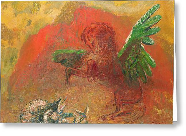Flying Photographs Greeting Cards - Pegasus Triumphant Greeting Card by Odilon Redon