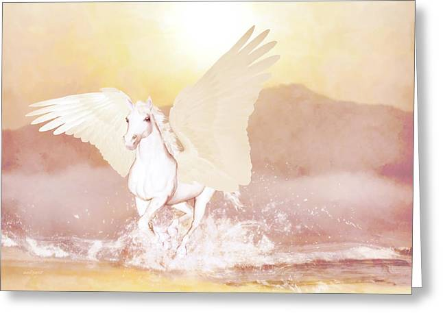 Tv Contest Greeting Cards - Pegasus Greeting Card by Valerie Anne Kelly