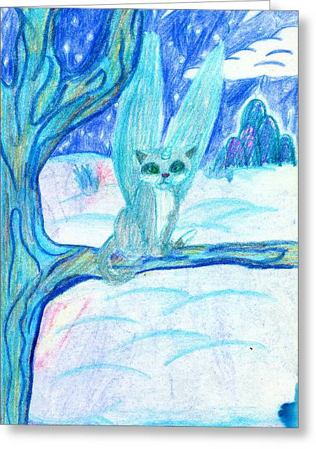 Flying Animal Drawings Greeting Cards - Flying Cat Greeting Card by Kd Neeley