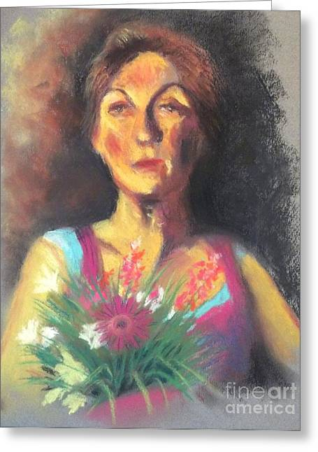 People Pastels Greeting Cards - Peggy - Live Model Painting Greeting Card by Yoshiko Mishina