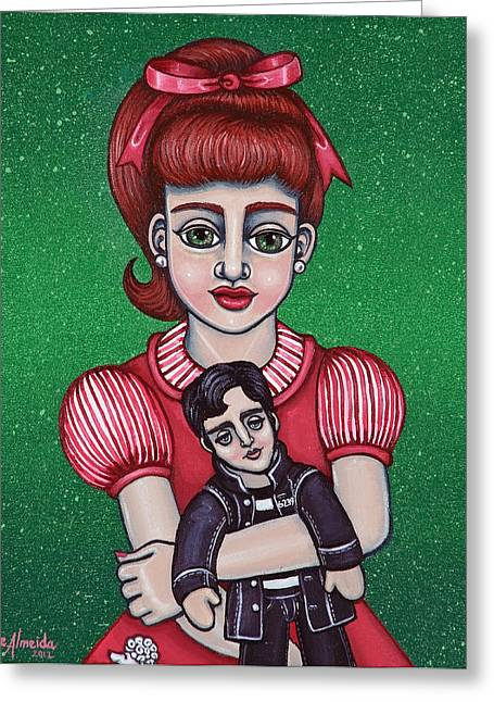 Peggy Sues Diner Paintings Greeting Cards - Peggy Sue Holding The King Greeting Card by Victoria De Almeida