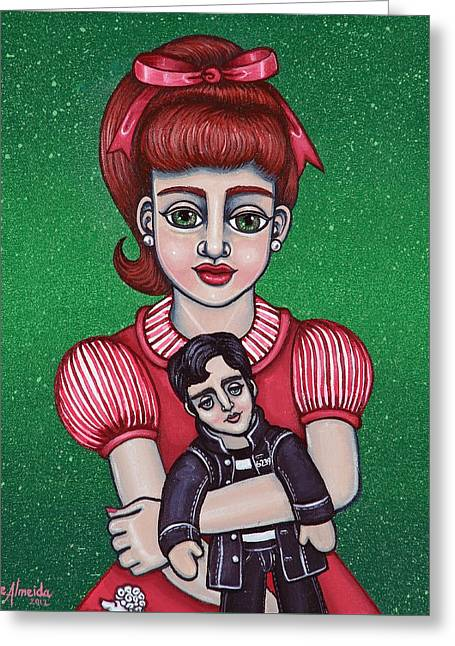 Shinas Greeting Cards - Peggy Sue Holding The King Greeting Card by Victoria De Almeida