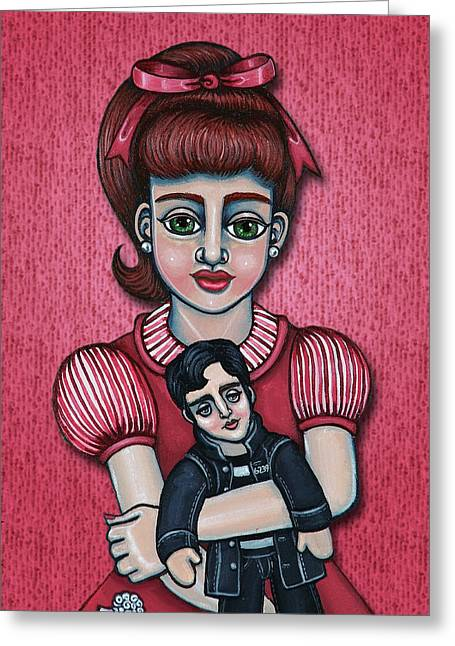 Hispanic Artists Greeting Cards - Peggy Sue Greeting Card by Victoria De Almeida