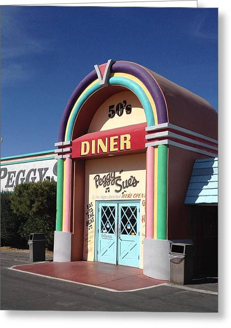 Peggy Sues Diner Greeting Cards - Peggy Sues 50s diner Greeting Card by Denise Beaupre