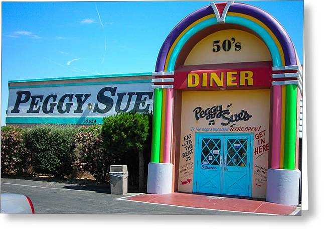 1950s Movies Greeting Cards - Peggy Sues Diner Yermo California Greeting Card by Robert Ford