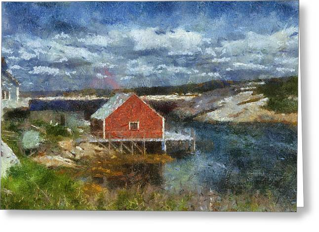 Village By The Sea Digital Greeting Cards - Peggys Cove Greeting Card by Cindy Rubin