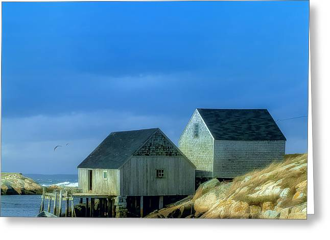 Shack Greeting Cards - Peggys Cove Fishing Shacks Greeting Card by Ken Morris