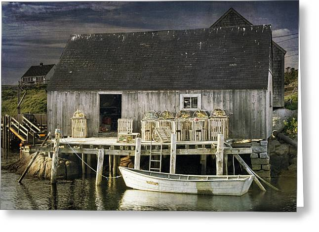 Randy Greeting Cards - Peggys Cove Fishing Village Greeting Card by Randall Nyhof