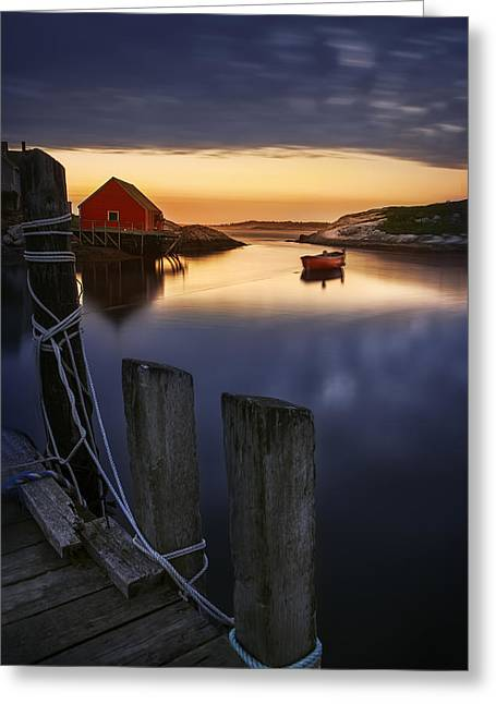 Docked Boats Greeting Cards - Peggys Cove Harbour Greeting Card by Magda  Bognar