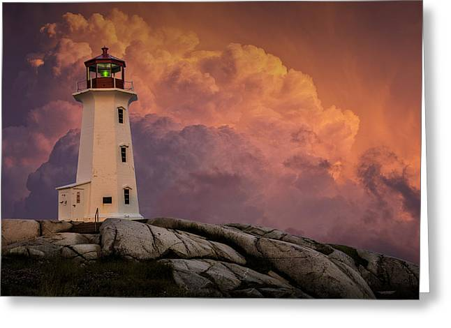 Ocean Art Photography Greeting Cards - Peggys Cove Lighthouse in Nova Scotia with Red Stormy Sky Greeting Card by Randall Nyhof