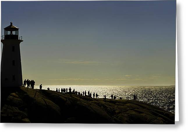 Atlantik Greeting Cards - Peggys Cove Lighthouse silhouette Greeting Card by Peter v Quenter