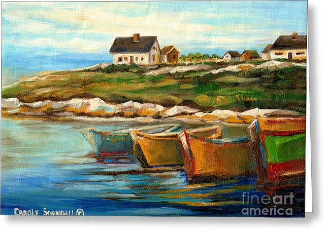New England Village Paintings Greeting Cards - Peggys Cove With Fishing Boats Greeting Card by Carole Spandau