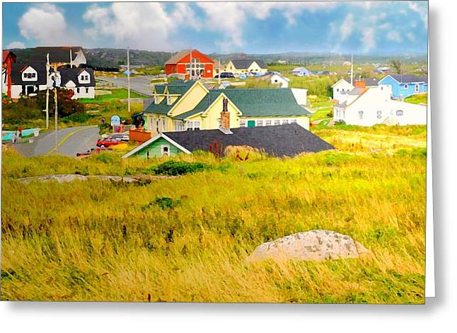 Halifax Art Greeting Cards - Village Folk Greeting Card by Diana Angstadt