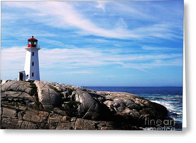 Navigational Greeting Cards - Peggys Point Lighthouse Greeting Card by Mel Steinhauer