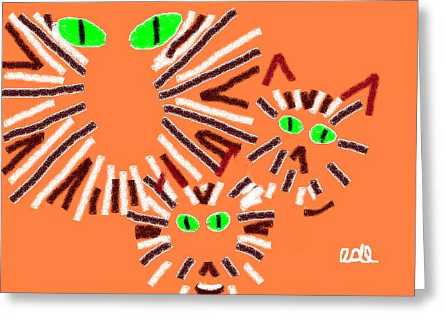 Baby Kitten Art Drawings Greeting Cards - Pegs Punky and Lulu Greeting Card by Anita Dale Livaditis