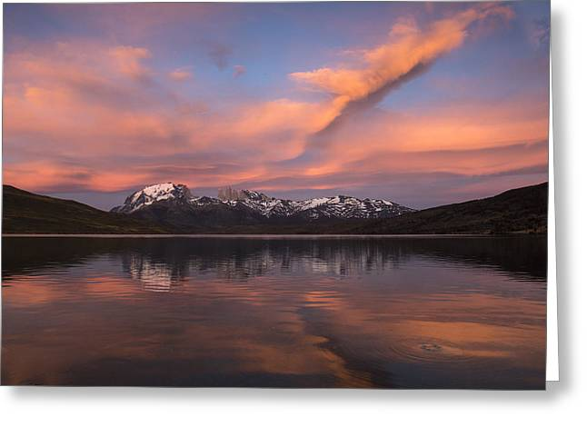 Pehoe Lake At Sunset Paine Massif Greeting Card by Pete Oxford