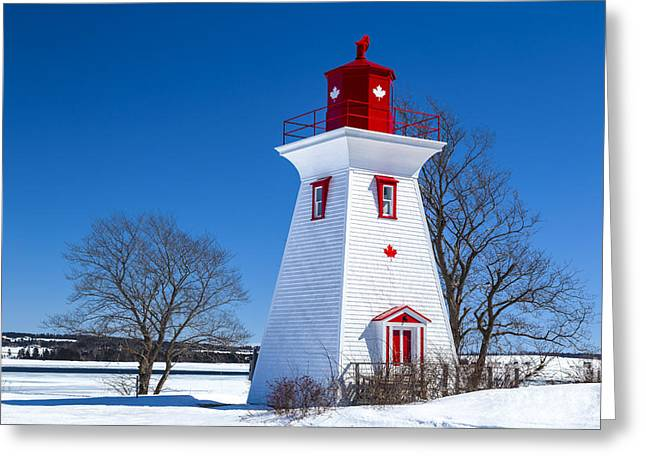 Buildings By The Ocean Photographs Greeting Cards - PEI Lighthouse Greeting Card by Verena Matthew