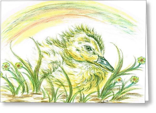 Ducklings Mixed Media Greeting Cards - Pekin Duckling Greeting Card by Teresa White