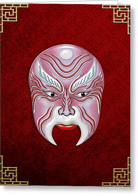 Antique Beijing Greeting Cards - Peking Opera Face-paint Masks - Jiang Shang Greeting Card by Serge Averbukh
